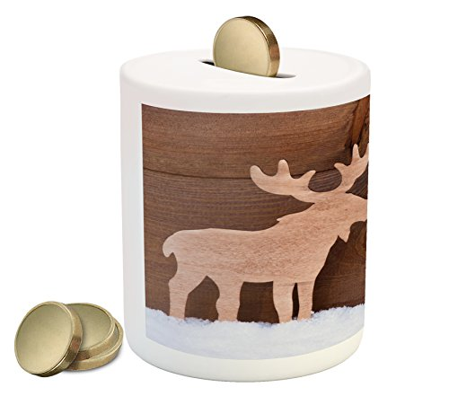 Moose Piggy Bank by Lunarable, Timber Elk Figure in Different Tones Romantic Noel Time Romance Joy Vintage Style, Printed Ceramic Coin Bank Money Box for Cash Saving, Brown and Tan - Moose Bank