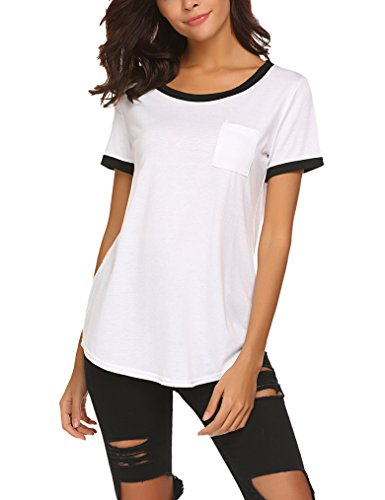 T Shirt for Women Short Sleeve Cotton Basic Tees Scoop Neck Loose Fit S White