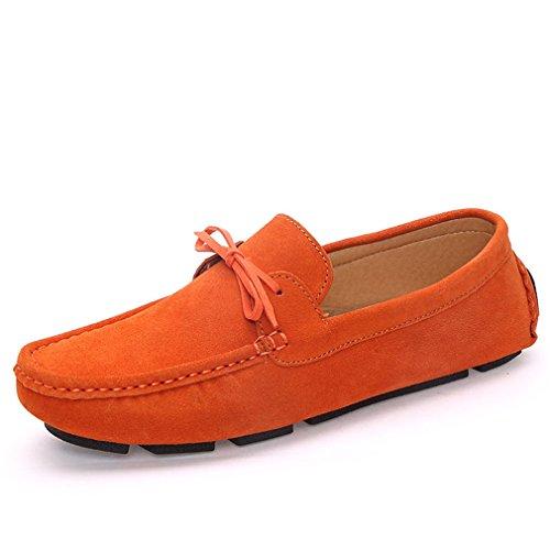 Uomo Casual Scarpe Orange blu scamosciata Homme Fluores per Hombre Slip pelle Mocassini Mocassini scuro On in uomo Shoes HtqnWIdw