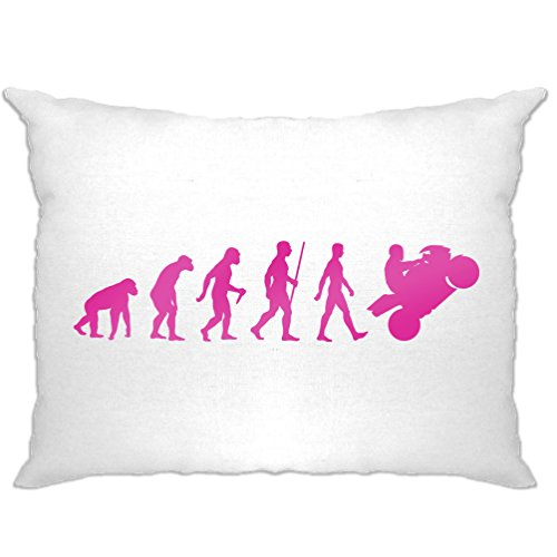 - Tim And Ted Motorcycle Pillow Case Neon Pink Evolution of a Biker White One Size