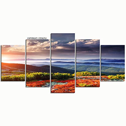 PENGTU Paintings Modern Canvas Painting Wall Art Pictures 5 Pieces Bright red Blueberry Bushes Glowing by Wall Decor HD Printed Posters Frame