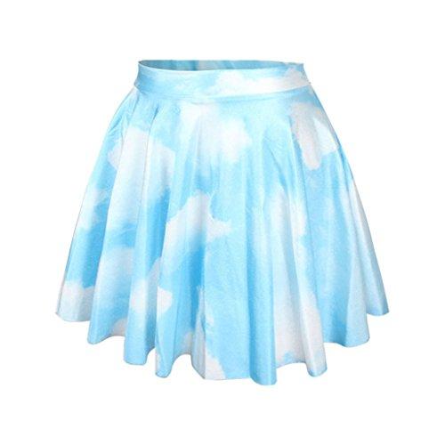 Girls Pastel Color Stretch Pleated Mini Skirt Blue Sky White Clouds Skater Skirt