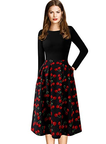 VFSHOW Womens Cherry Print Pockets Cocktail Casual Skater A-Line Dress 1615 BLK 3XL