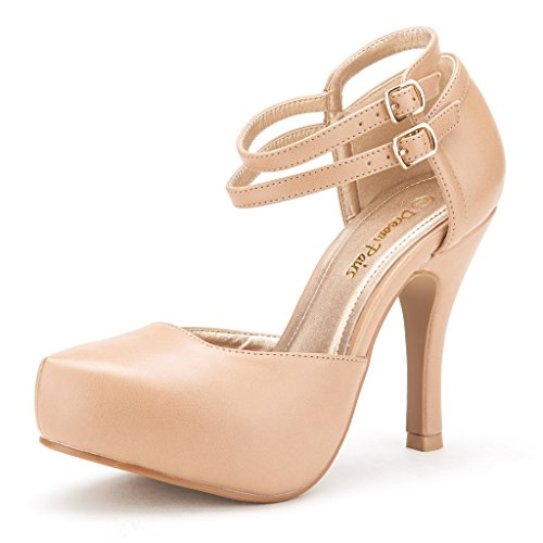 DREAM PAIRS OFFICE-02 Women's Classy Mary Jane Double Ankle Strap Almond Toe High Heel Pumps New Nude PU Size - New Women Nude