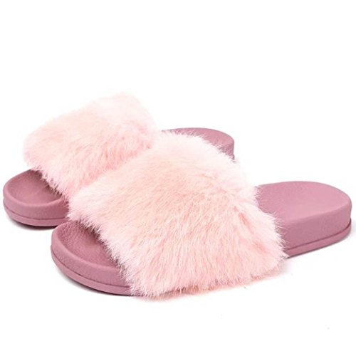 Kvinners Uformelle Åpen Tå Skli Fluffy Myk Fuskepels Flat Tøffelen Flat Lysbilde Sandaler, Komfortable Og Vakre 3 Farger Av Cssd Rosa