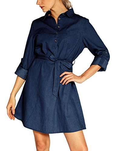 Urban CoCo Women's Tie-Belt shirtdress Denim Blouse Dress (L, Deep Blue)