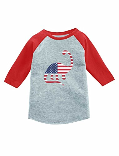 American Flag Baseball Jersey (Tstars USA Dinosaur American Flag 4th of July 3/4 Sleeve Baseball Jersey Toddler Shirt 5/6 Red)