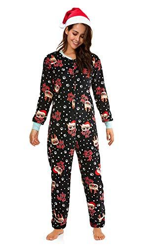 Grumpy Cat Women's Christmas Union Suit Drop Seat with Silky Santa Hat (Medium (8-10)) ()