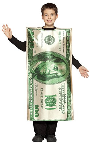 10 Dollar Costumes (UHC Boy's $100 Dollar Bill Funny Theme Fancy Dress Child Halloween Costume, Child M (7-10))