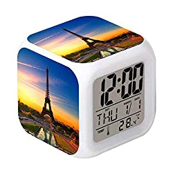 Laintone Led Alarm Clock Eiffel Tower Dusk Design Creative Desk Table Clock Glowing Electronic Colorful Digital Alarm