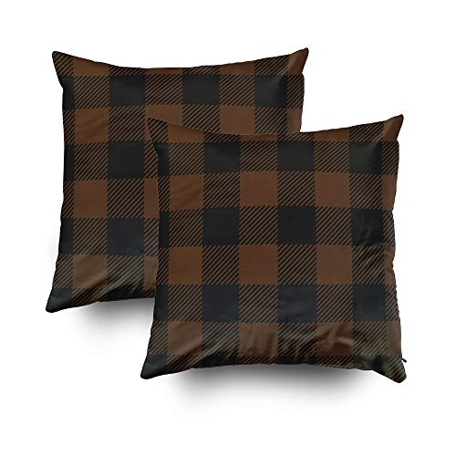 EMMTEEY Home Decor Throw Pillowcase for Sofa Cushion Cover, Christmas Brown Black Buffalo Check Plaid Decorative Square Accent Zippered and Double Sided Printing Pillow Case Covers 18X18Inch,Set of 2 ()