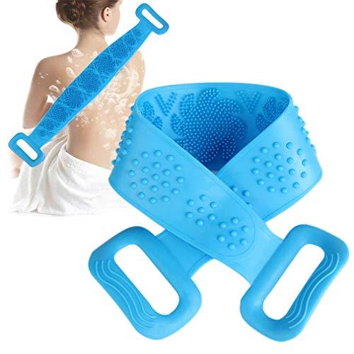 Silikon Bad Körperbürste, SZHTSWU Dusche Tiefenreinigung Rückenwascher Peeling Massage Langer Körperwaschgürtel für Männer und Frauen (Blau)