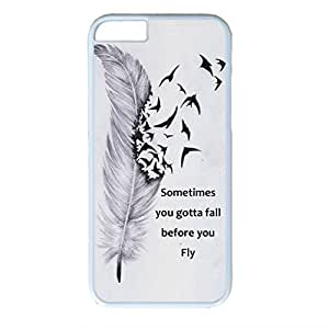 iCustomonline Flying Feather Skin Hard PC White Case Cover Design for iPhone 6 (4.7 inch)
