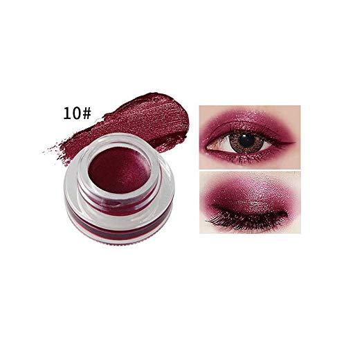 15 Colors Single Eyeshadow Cream Waterproof Long Lasting Pigments Red Green Color Shimmer Metallic Eye Shadow 10 ()