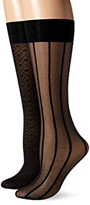 Nine West Women's Geometric 6ppk 20d Trouser Sock