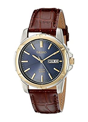 Seiko Men's SNE102 Stainless Steel Solar Watch with Brown Leather Strap by Seiko