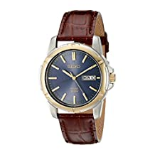 Seiko Men's SNE102 Stainless Steel and Brown Leather Strap Solar Watch