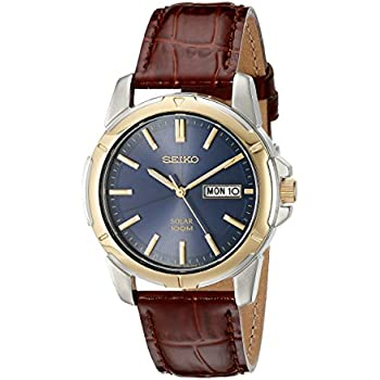 Seiko Menu0027s SNE102 Stainless Steel Solar Watch With Brown Leather Strap
