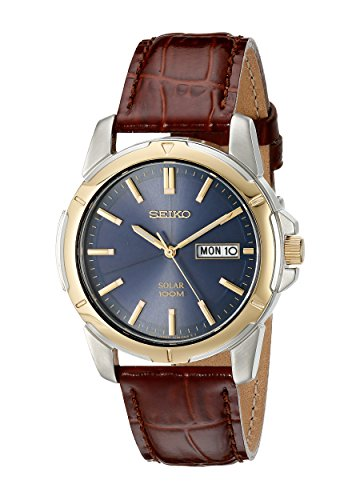 (Seiko Men's SNE102 Stainless Steel Solar Watch with Brown Leather Strap)