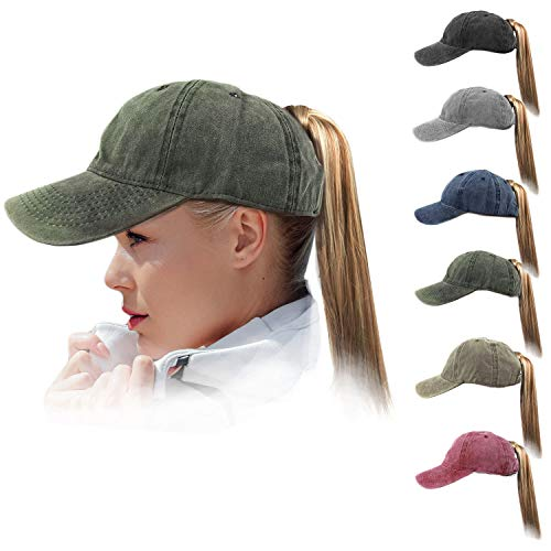 - HH HOFNEN Men Women Washed Twill Cotton Baseball Cap Vintage Adjustable Dad Hat (#03 Army Green High Pony Tail)