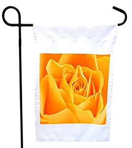 Rikki Knight Peach Rose House or Garden Flag with 11 x 11-Inch Image, 12 x 18-Inch