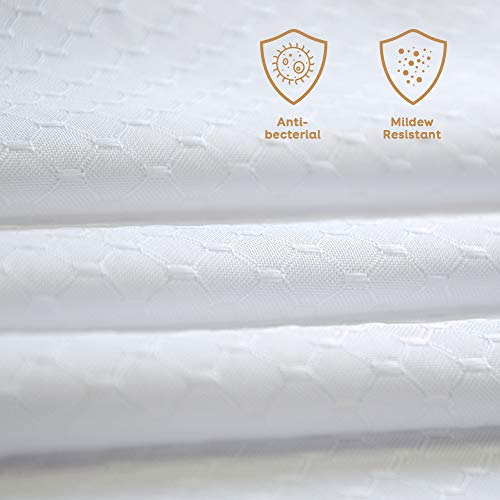 Anjee Tenda Doccia Antimuffa Impermeabile Resistente alle Muffe Tende Doccia,Lavabile,con Ganci da Bagno,180 x 180 cm,Bianca