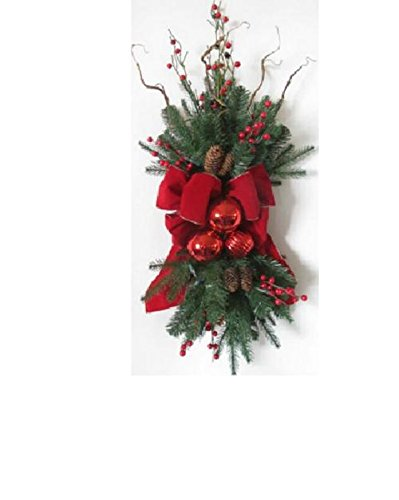 34'' Pre-Decorated Red Ribbon, Ornaments and Berries Artificial Christmas Stair Swag- Unlit by Arett Sales
