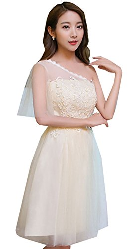 SiYuan Champagne Women's Sweet Floral Lace Ruched Wedding