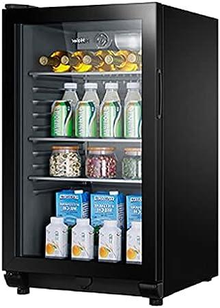 Refrigerador de Vino de Cuatro Capas, Bodega Independiente, Estante móvil, refrigerador para el hogar, Barra de Hielo de Cerveza pequeña (Color : Black, Size : 50 * 57 * 86.5cm)
