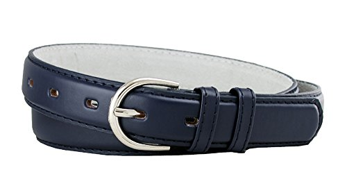 Solid Color Dress Leather Adjustable Skinny Belt for Women (Navy, Medium) (Belt Detailed Leather)