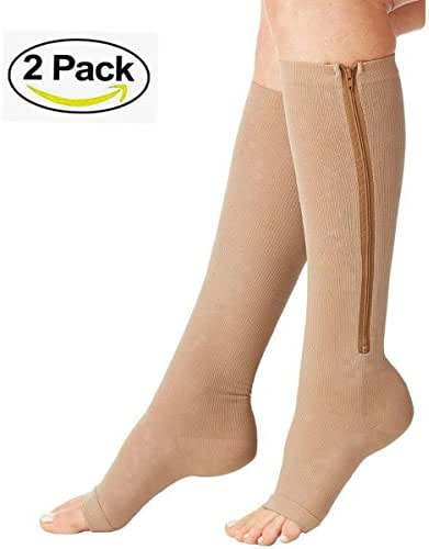 Compression Socks (2 Pairs) New Compression Zip Sox Socks Stretchy Zipper Leg Support Unisex Open Toe Knee Stockings (Beige, S/M)