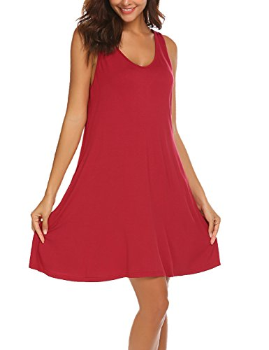 LuckyMore Women Summer Beach Casual Flared Midi Tank Dress Wine Red (M&m Red Tank Dress)