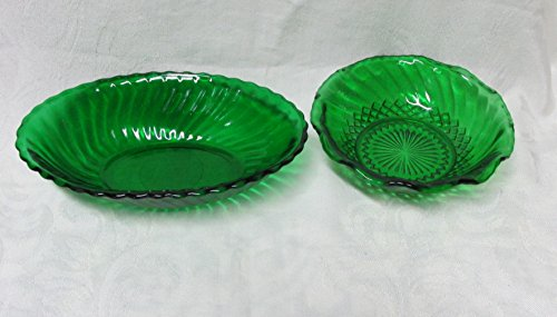 Forest Green Anchor Hocking Bowls Oval & Round