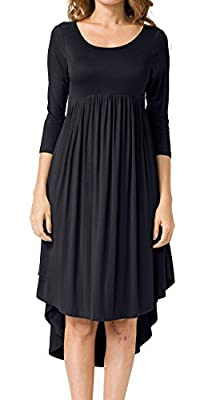 LILBETTER Women's Scoop Neck Pockets High Low Pleated Loose Swing Casual Midi Dress