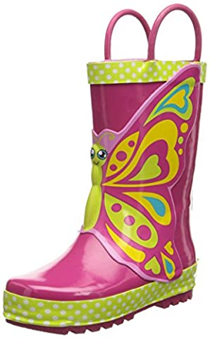 Western Chief Girls Printed Rain Boot, Butterfly Star, 9 M US Toddler - Wellies