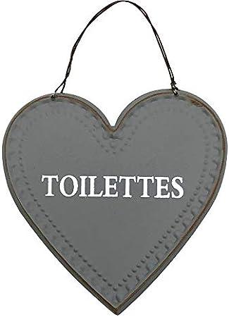 chemin/_de/_campagne Plaque de Porte Toilettes Style Ancien Fer Gris 12 cm