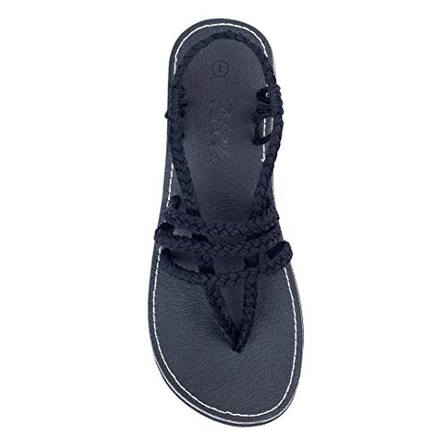 (Plaka Flat Sandals for Women Black Size 10 Zori)