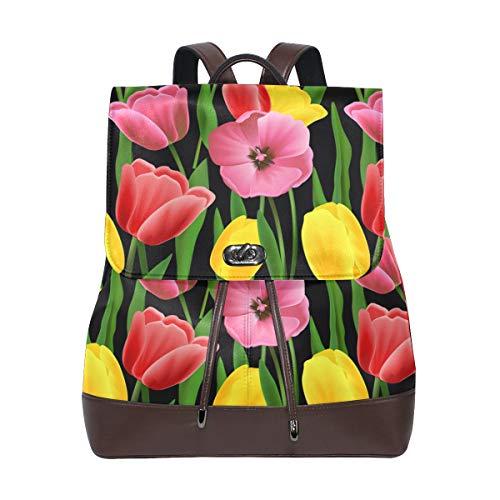 Kvinnor PU-läder tulpanmönster ryggsäck handväska resa skola axelväska ledig dagväska