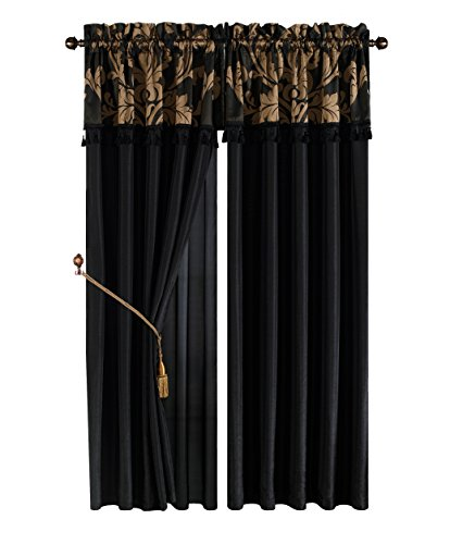 (Chezmoi Collection Royale 4-Piece Jacquard Floral Window Curtain/Drape Set Sheer Backing Tassels Valance, Black/Gold)