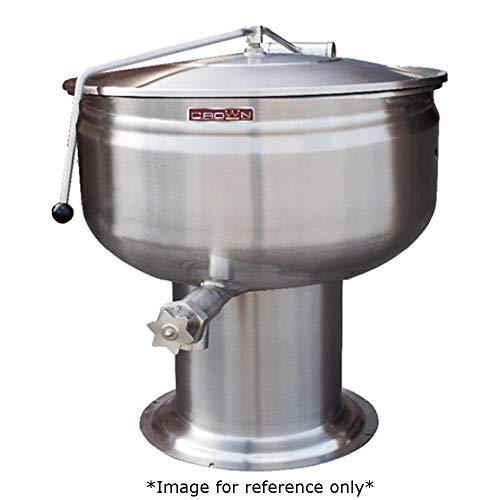 Crown DP-60F Direct Steam Stationary Kettle with 60 Gallon Capacity, Full Jacket & Pedestal Base (Steam Pedestal Kettle Direct Stationary)
