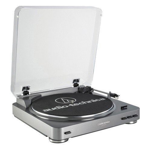 Audio-Technica AT-LP60USB – Tocadiscos de correa con conexión USB, plateado