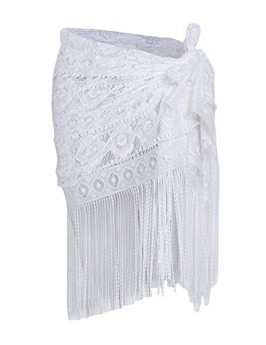 shermie Women's Swimwear Sarong Wrap Swimsuit Skirt Bikini Summer Beach Cover up with Tassel Short White