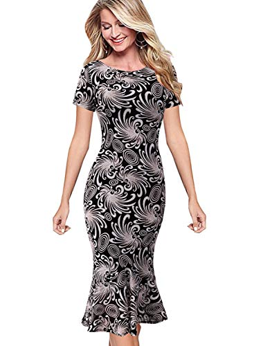 VFSHOW Womens Black and Beige Floral Print Elegant Vintage Cocktail Party Mermaid Pencil Midi Dress 2793 FLW L