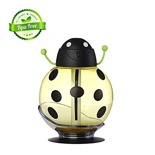 Mini Creative Beetle Ultrasonic Humidifier Portable USB 360 Degree Rotating Air Purifier with LED Night Light for Home Office Travel Car
