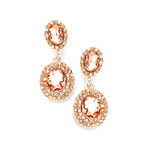 Peach Oval Beads - Uniklook Peach Rose Gold Trim Double Crystal Oval Women's Chunky Statement Earrings Jewelry