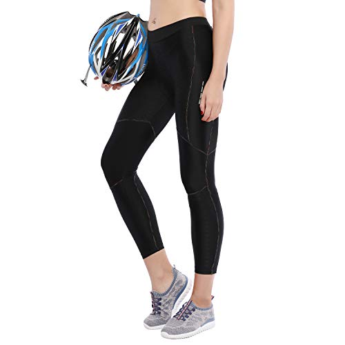 Tights Womens Cycling (Santic Women's Bike Pants Cycling Tights Padded 7D Bicycle Long Legging Breathable & Quick Dry)