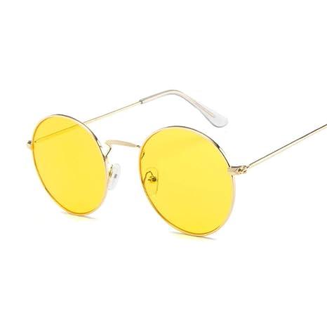 Yangjing-hl Gafas de Sol Redondas clásicas de aleación Mujer ...