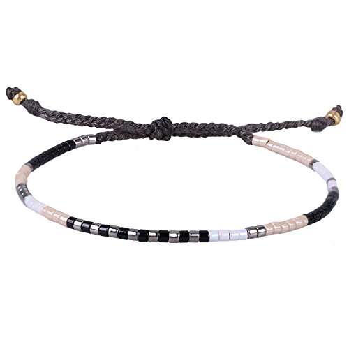 KELITCH Multicolor Crystal Shell Beaded Friendship Bracelets Hand Woven New Jewelry (Black White)