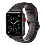 Compatible Apple Watch Band 42mm, OUHENG Retro Vintage Genuine Leather iWatch Strap Replacement Compatible Apple Watch Series 3 Series 2 Series 1, Brownish Black Black Adapter - Longer Size, M/L