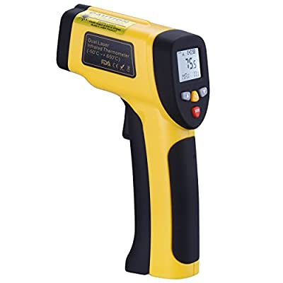 Tensun Digital Dual Laser Temperature Gun Non-contact Surface IR Infrared Thermometer (-58°F to 1202°F/-50°C to 650°C) Instant Read Handheld